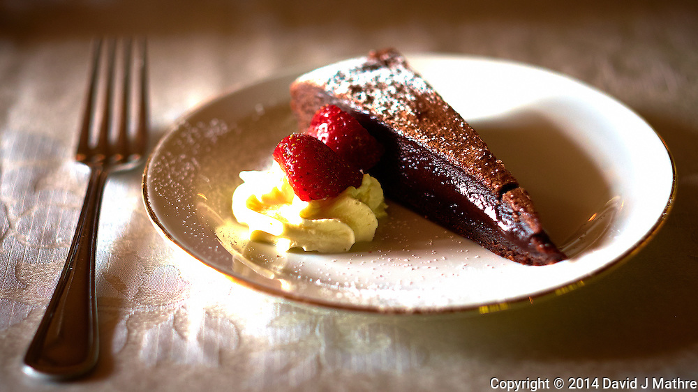 Chocolate Cake and Strawberry Desert at Odinsborg Restaurang in Gamla Uppsala, Sweden. Semester at Sea, Summer 2014 Voyage. Image taken with a Fuji XT1 camera and 56 mm f/1.2 lens (ISO 400, 56 mm, f/2, 1/125 sec). Raw image processed with Capture One Pro, Focus Magic and Photoshop CC 2014