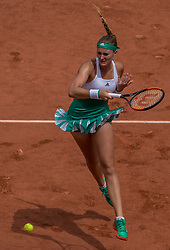 June 2, 2017 - Paris, France - Kristina Mladenovic of France returns the ball to Shelby Rogers of United States during the third round at Roland Garros Grand Slam Tournament - Day 6 on June 2, 2017 in Paris, France. (Credit Image: © Robert Szaniszlo/NurPhoto via ZUMA Press)