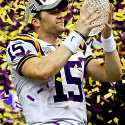 07 January 2008: LSU quarterback Matt Flynn (15) holds up the crystal football from the Coaches Trophy following the 2008 Allstate BCS Championship game a 38-24 win by the LSU Tigers over the Ohio State Buckeyes at the Louisiana Superdome in New Orleans, Louisiana.
