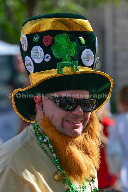 Photo of man wearing a leprechaun hat at the Dublin Irish Festival in Dublin, Ohio.