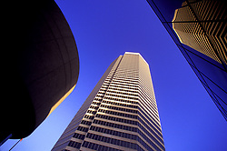 Stock photo of architectural details of Downtown buildings with sky in Houston, Texas