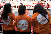 Charity supporters from Meningitis Now encourage participants taking part in the London Marathon on 22nd April 2018 in London, England, United Kingdom. The London Marathon, presently known through sponsorship as the Virgin Money London Marathon, is a long-distance running event. The event was first run in 1981 and has been held in the spring of every year since. The race is mainly known for ebing a public race where ordinary people can challenge themsleves while raising great amounts of money for various charities.
