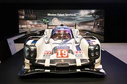 Porsche Le Mans racing car on display at VW Drive forum on Unter den Linden in Berlin Germany