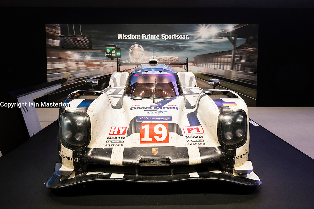 Porsche Le Mans racing car on display at VW Drive forum on Unter den Linden in Berlin Germany
