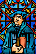 Stained glass depicting Martin Luther, photographed at St. Paul Lutheran Church in the Marigny area of New Orleans on Saturday, July 10, 2021. LCMS Communications/Erik M. Lunsford