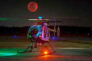 A Gwinnett County MD 500E Police helicopter on the ramp at Briscoe Field (LZU) in Lawrenceville, Georgia.<br />