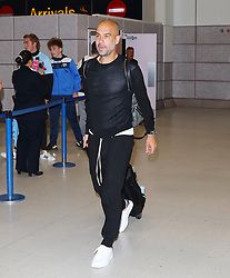 Pep Guardiola and The Manchester City team are seen arriving home after their pre-season tour of the USA.