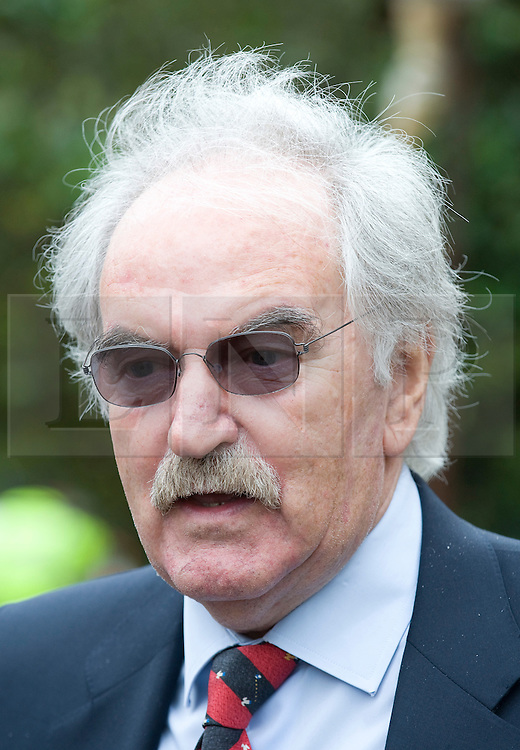 © licensed to London News Pictures. 18/05/2011. Tonbridge, UK. Des Lynam at the funeral of heavyweight boxing legend Sir Henry Cooper at Corpus Christi Church in Lyons Crescent, Tonbridge, Kent today (18/05/2011).  Please see special instructions for usage rates. Photo credit should read Ben Cawthra/LNP