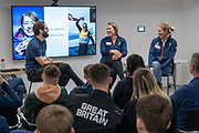 Olympians Lizzy Yarnold and Saskia Clark speaking during the Lausanne 2020 Youth Olympic Games Team GB Summit at the BOA British Olympic Association on the 13th December 2019 in London in the United Kingdom. The Youth Olympic Games are an international Olympic sporting event for athletes aged 15 to 18 to be held in Switzerland in 2020.