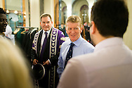 British Astronaut Tim Peake with Vice-Chancellor, Professor Graham Galbraith as he prepares to receive an Honorary Doctorate of Science Degree from the University of Portsmouth at the Guildhall in the city.<br /> Earlier, Tim spent the day at the UK Space Agency Schools Conference hosted by the University.<br /> The conference celebrated the work of over a million UK school students inspired by Peake's Principia mission, which saw the flight dynamics and evaluation graduate spend more than six months on board the International Space Station.<br /> Youngsters had the chance to present their work through talks and exhibitions to experts from the UK Space Agency, European Space Agency (ESA), partner organisations and the space sector. Most also had the chance to meet Tim.<br /> Picture date Wednesday 2nd November, 2016.<br /> Picture by Christopher Ison for the University of Portsmouth.<br /> Contact +447544 044177 <br /> chris@christopherison.com<br /> www.christopherison.com