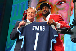 April 26, 2018 - Arlington, TX, U.S. - ARLINGTON, TX - APRIL 26:  Rashaan Evans holds a jersey and takes photos with NFL Commissioner Roger Goodell after being chosen by the Tennessee Titans with the 22nd pick during the first round at the 2018 NFL Draft at AT&T Statium on April 26, 2018 at AT&T Stadium in Arlington Texas.  (Photo by Rich Graessle/Icon Sportswire) (Credit Image: © Rich Graessle/Icon SMI via ZUMA Press)