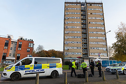 © Licensed to London News Pictures. 20/11/2019. London, UK. The crime scene at Owen Waters House in Fullwell Avenue, Ilford where a 19 year old man died after suffering stab injuries last night. Police were called at 22:20 on 19th November following reports of a fight outside Owen Waters House where they attended to a 19 year old man suffering from stab injuries, who died at the scene.  Photo credit: Vickie Flores/LNP