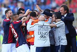 """Foto LaPresse/Filippo Rubin<br /> 27/04/2019 Bologna (Italia)<br /> Sport Calcio<br /> Bologna - Empoli - Campionato di calcio Serie A 2018/2019 - Stadio """"Renato Dall'Ara""""<br /> Nella foto: ESULTANZA GOAL BOLOGNA RICCARDO ORSOLINI (BOLOGNA F.C.)<br /> <br /> Photo LaPresse/Filippo Rubin<br /> April 27, 2019 Bologna (Italy)<br /> Sport Soccer<br /> Bologna vs Empoli - Italian Football Championship League A 2017/2018 - """"Renato Dall'Ara"""" Stadium <br /> In the pic: CELEBRATION GOAL BOLOGNA RICCARDO ORSOLINI (BOLOGNA F.C.)"""