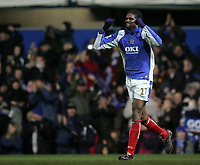Photo: Lee Earle.<br /> Portsmouth v Wigan Athletic. The FA Cup. 06/01/2007. Portsmouth's Kanu celebrates after scoring the winning goal.