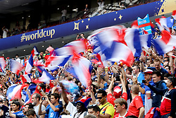 France supporters in the stands before the FIFA World Cup Final at the Luzhniki Stadium, Moscow.