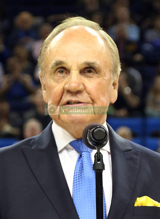 December 22, 2017 - Westwood, CALIFORNIA, UNITED STATES OF AMERICA - Sportscaster Dick Enberg died today at his La Jolla home from a possible heart attack according to his wife,  Barbara Hedbring. He was 82..FILE PHOTO: Broadcast Legend Dick Enberg flanked by Bruin and NBA greats Jamal Silk Wilkes and Bill Walton speaks to adoring fans during a ceremony in honor of his long standing career in the  broadcast booth. UCLA Bruins defeat the Oregon Ducks 82-79 on Thursday, February 9, 2017 at Pauley Pavilion at the UCLA campus in Westwood, California.  BURT HARRIS/PI (Credit Image: © Prensa Internacional via ZUMA Wire)