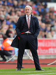 Stoke City manager Mark Hughes during the Premier League match at the bet365 Stadium, Stoke-on-Trent.