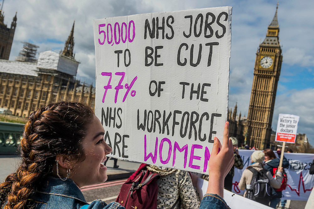 Nurses and doctors march on the department of health in Whitehall - The picket line at St Thomas' Hospital. Junior Doctors stage another 48 hours of strike action against the new contracts due to be imposed by the Governemnt and health minister Jeremy Hunt.