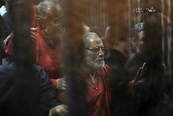 16.05.2015, Kairo, EGY, Mohamed Mursi Prozess, im Bild Ein Gericht in Kairo hat den ehemaligen ägyptischen Präsidenten Mohammed Mursi wegen Spionage heute zum Tode verurteilt. // Muslim Brotherhood's Supreme Guide Mohamed Badie (C) reacts with other brotherhood members at a court in the outskirts of Cairo, Egypt May 16, 2015. An Egyptian court on Saturday sought the death penalty for former president Mohamed Mursi and more than 100 other members of the Muslim Brotherhood in connection with a mass jail break in 2011. Photo by Stringer, Egypt on 2015/05/16. EXPA Pictures © 2015, PhotoCredit: EXPA/ APAimages/ Stringer<br /> <br /> *****ATTENTION - for AUT, GER, SUI, ITA, POL, CRO, SRB only*****