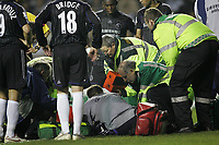 Photo: Lee Earle.<br /> Reading v Chelsea. The Barclays Premiership. 14/10/2006. Chelsea's Carlo Cudicini gets checked out by the medical staff before leaving the pitch after injury.