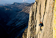 Kate Rutherford running it out 5.9 on a free ascent of Half Dome (VI 5.12+), Yosemite, CA