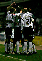 Derby County celebrate their second goal
