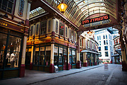 Deserted Leadenhall Market at 5pm on 26th March 2020 in London, United Kingdom. Normally crowded with people leaving work the City of London is like a ghost town as workers stay home during the Coronavirus pandemic and shops are closed in a government lockdown.