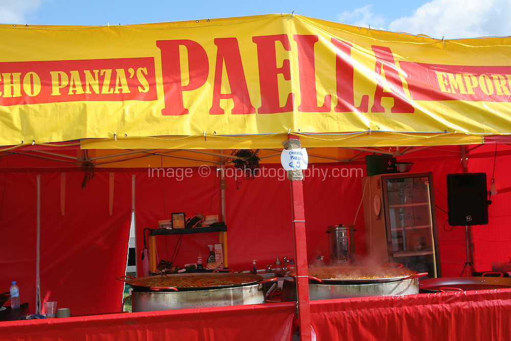 Paella stand at music festival