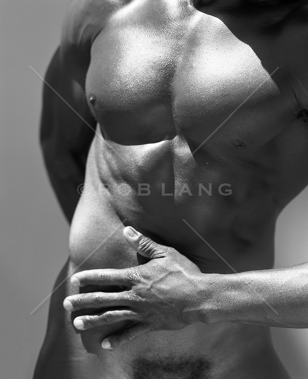 torso of a muscular man twisting his body