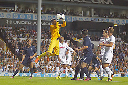 29.08.2013, White Hart Lane, London, ENG, UEFA CL Qualifikation, Tottenham Hotspur vs FC Dinamo Tiflis, Rueckspiel, im Bild Dinamo Tbilisi's Giorgi Loria catches the ball during the UEFA Europa League Qualifier second leg match between Tottenham Hotspur and FC Dinamo Tiflis Zuerich at the White Hart Lane in London, England on 2013/08/29 . EXPA Pictures © 2013, PhotoCredit: EXPA/ Mitchell Gunn <br /> <br /> ***** ATTENTION - OUT OF GBR *****