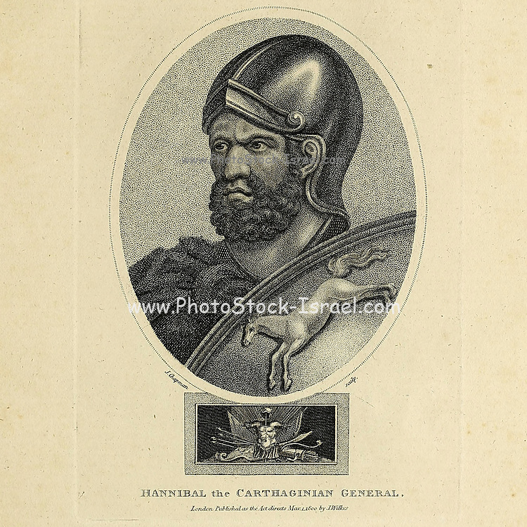 Hannibal (247 – 183 BC) was a Carthaginian general and statesman who commanded Carthage's main forces against the Roman Republic during the Second Punic War. He is widely considered one of the greatest military commanders in human history. Copperplate engraving From the Encyclopaedia Londinensis or, Universal dictionary of arts, sciences, and literature; Volume III;  Edited by Wilkes, John. Published in London in 1810