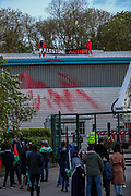 Leicester, United Kingdom, May 19, 2021: Palestine Action activists hold a banner as they stand on the rooftop of the Elbit UAV Tactical Systems factory. In response to Israeli air raids in Gaza, they occupied the rooftop of the Meridian Business Park in Braunstone Town, Leicester on Wednesday, May 19, 2021. (Photo by Vudi Xhymshiti/VXP)