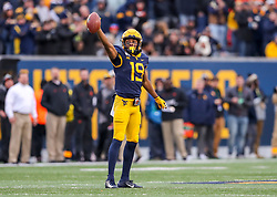 Nov 23, 2019; Morgantown, WV, USA; West Virginia Mountaineers wide receiver Ali Jennings (19) celebrates a first down during the fourth quarter against the Oklahoma State Cowboys at Mountaineer Field at Milan Puskar Stadium. Mandatory Credit: Ben Queen-USA TODAY Sports