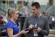 Katie Nageotte (left) talks with coach Jeff Hartwig during the National Pole Vault Summit, Friday, Jan. 17, 2020, in Reno, Nev.