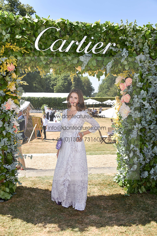 Genevieve Gaunt at the 'Cartier Style et Luxe' enclosure during the Goodwood Festival of Speed, Goodwood House, West Sussex, England. 15 July 2018.