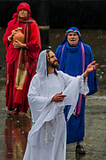 Jesus is resurected - The Wintershall Players open-air re-enactment of 'The Passion of Jesus' on Good Friday in the rain in Trafalgar Square. It featured a cast of over 100 volunteers from in and around London.
