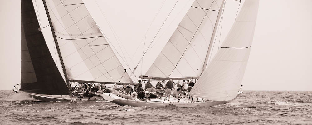 12 Meter Class American Eagle and Weatherly racing at the Nantucket 12 Meter Regatta