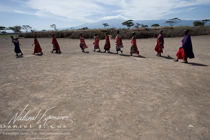 Masai at thier village. Amboseli National Park. Kenya