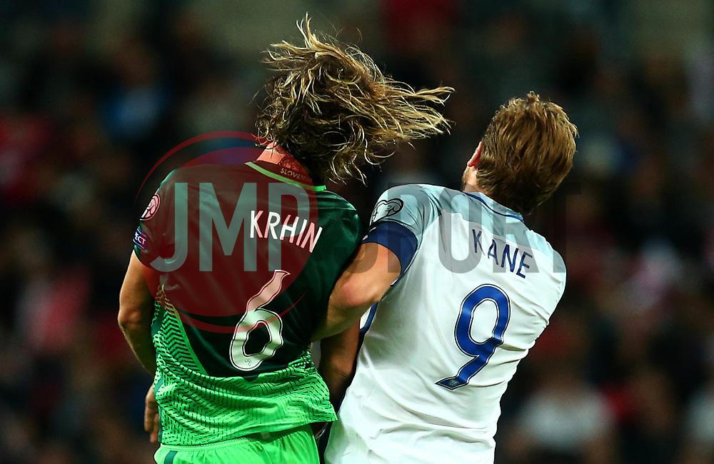 Rene Krhin of Slovenia and Harry Kane of England jump together - Mandatory by-line: Robbie Stephenson/JMP - 05/10/2017 - FOOTBALL - Wembley Stadium - London, United Kingdom - England v Slovenia - World Cup qualifier