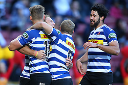 Werner Kok of Western Province is congratulated for scoring a try during the Currie Cup Premier Division match between the DHL Western Province and the Sharks held at the DHL Newlands Rugby Stadium in Cape Town, South Africa on the 3rd September  2016<br /> <br /> Photo by: Shaun Roy / RealTime Images