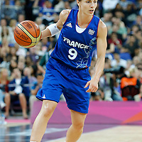 09 August 2012: France Celine Dumerc dribbles during 81-64 Team France victory over Team Russia, during the women's basketball semi-finals, at the 02 Arena, in London, Great Britain.