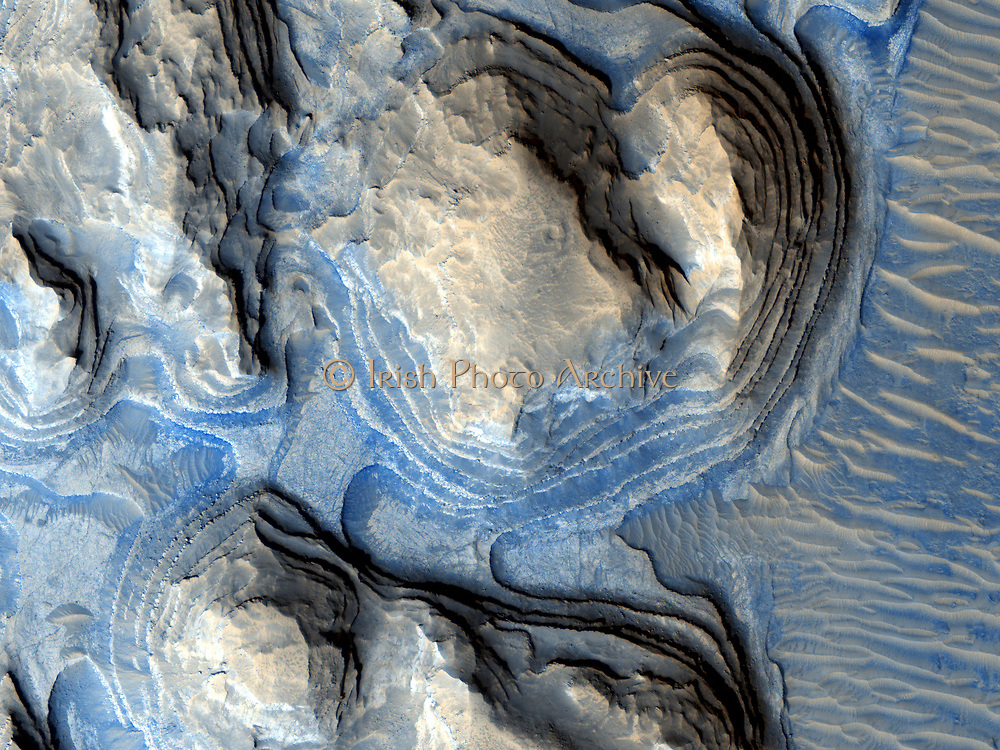 """Geologic layering on Mars. image from the HiRISE high-resolution camera on board the Mars Reconnaissance Orbiter (MRO) shows multiple layers of exposed sedimentary rock on Mars in a region known as Arabia Terra. Referred to as """"cyclic bedding"""" by geologists, this pattern of layering is caused by repeated fluctuations in the amount of sediment available to create new rock layers. This is often caused by long-term changes in the climate of a region, or even by wobbles in a planet's rotation which can make certain areas experience long periods of dry climate followed by periods of wetter climate."""