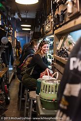 Pamela Beckman on a visit to Animal Boat custom motorcycle shop after Mooneyes. Tokyo, Japan. December 8, 2015.  Photography ©2015 Michael Lichter.