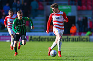 Kieran Sadlier of Doncaster Rovers (22) and Luke Thomas of Coventry City (23) in action during the EFL Sky Bet League 1 match between Doncaster Rovers and Coventry City at the Keepmoat Stadium, Doncaster, England on 4 May 2019.