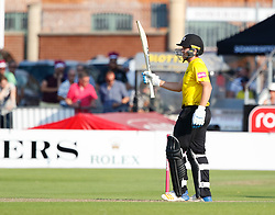 Gloucestershire's Ryan Higgins celebrates scoring his half century <br /> <br /> Photographer Simon King/Replay Images<br /> <br /> Vitality Blast T20 - Round 1 - Somerset v Gloucestershire - Friday 6th July 2018 - Cooper Associates County Ground - Taunton<br /> <br /> World Copyright © Replay Images . All rights reserved. info@replayimages.co.uk - http://replayimages.co.uk