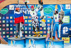 Second placed Zan Kosir of Slovenia, winner Andrey Sobolev of Russia and third placed Benjamin Karl of Austria at flower ceremony after the Men's Parallel Giant Slalom at FIS World Championships of Snowboard and Freestyle 2015, on January 23, 2015 at the WM Piste in Lachtal, Austria. Photo by Vid Ponikvar / Sportida