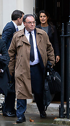 © Licensed to London News Pictures. 12/11/2018. London, UK. Chief Executive Officer of the Financial Conduct Authority Andrew Bailey seen in Downing Street this morning after leaving 11 Downing Street. Photo credit : Tom Nicholson/LNP