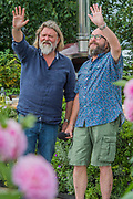 The Hairy Bikers on the RHS Feature Garden - The Hampton Court Flower Show, organised by the Royal Horticultural Society (RHS). In the grounds of the Hampton Court Palace, London.
