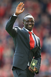 21st May 2017 - Premier League - Liverpool v Middlesbrough - Sadio Mane of Liverpool waves to the crowd after accepting his award for being named in the PFA Team of the Year - Photo: Simon Stacpoole / Offside.