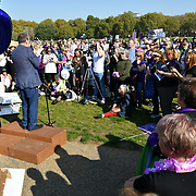 Hundreds of pensioner rally The 1950s Women's State Pension Campaign, Back to 60, We Paid In, You Paid Out and other women's pension groups will join together 'Shoulder to Shoulder' as #OneVoice chanting Theresa May how many people you robs today demand their pension to be pay now not when we will dead at Reformer's Tree, Hyde Park, London, UK. 10 October 2018.